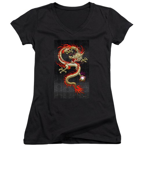 Golden Chinese Dragon Fucanglong  Women's V-Neck T-Shirt