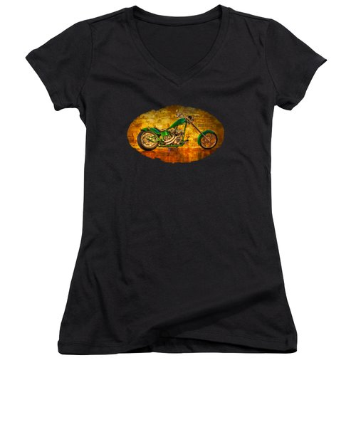 Green Chopper Women's V-Neck T-Shirt (Junior Cut) by Debra and Dave Vanderlaan
