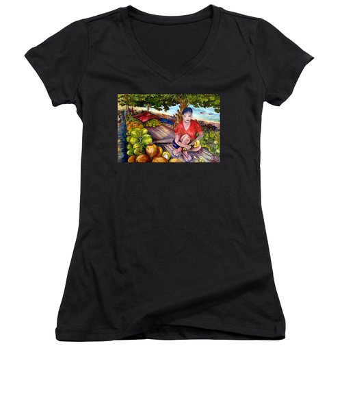 Green Coconut Cafe. Women's V-Neck (Athletic Fit)