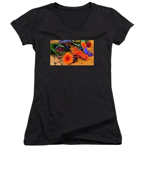 Halloween Decoration Women's V-Neck T-Shirt (Junior Cut) by Tamara Sushko