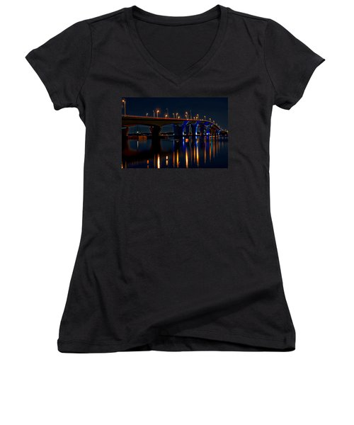 Hathaway Bridge At Night Women's V-Neck