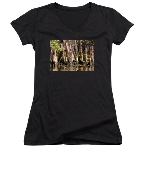 Women's V-Neck T-Shirt featuring the photograph Heron And Cypress Knees by Steven Sparks