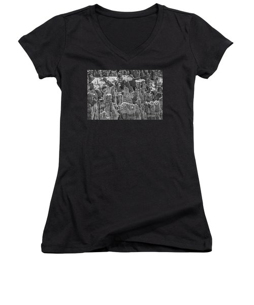 Women's V-Neck T-Shirt (Junior Cut) featuring the photograph Hoodoos After A Snowfall by Sue Smith