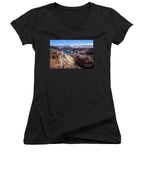 Hoover Dam Women's V-Neck T-Shirt (Junior Cut) by RicardMN Photography