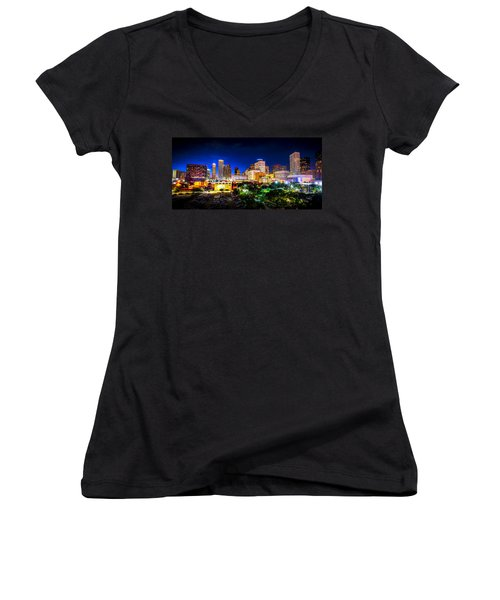 Women's V-Neck T-Shirt (Junior Cut) featuring the photograph Houston City Lights by David Morefield