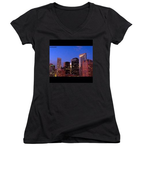 #houston #skyline At Dusk. #night Women's V-Neck T-Shirt