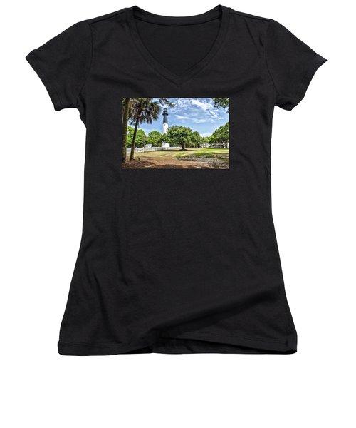 Hunting Island Lighthouse Women's V-Neck T-Shirt (Junior Cut) by Scott Hansen