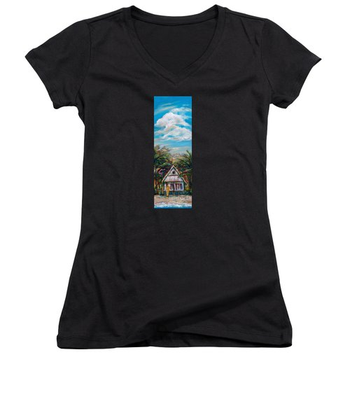 Women's V-Neck T-Shirt (Junior Cut) featuring the painting Island Bungalow by Linda Olsen