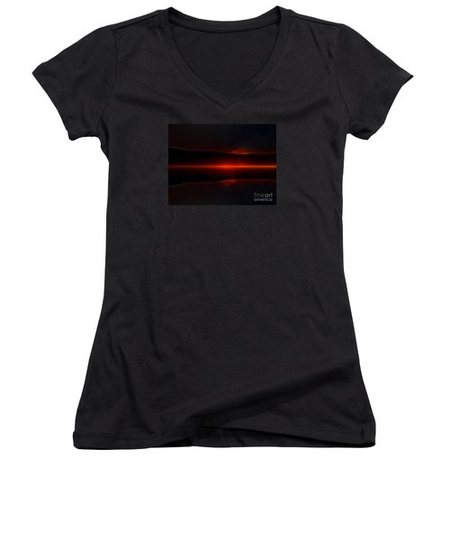 Island Fog Sunrise Women's V-Neck T-Shirt (Junior Cut) by Elaine Hunter