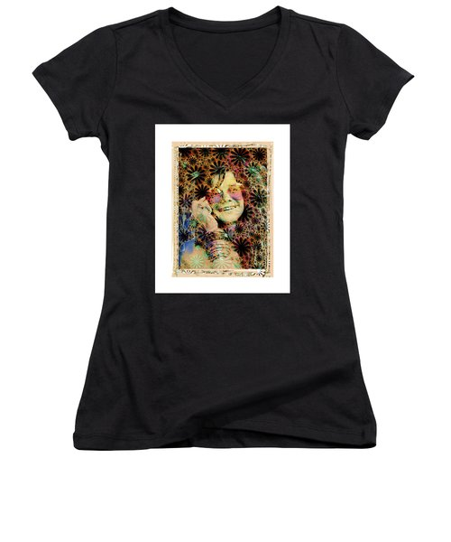 Janis Joplin Women's V-Neck T-Shirt