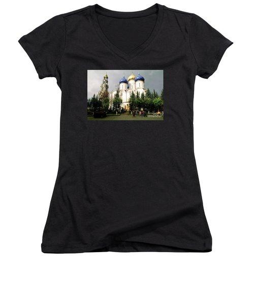 Jesus, Trinity Lavra Of St. Sergius Monastery Sergiev Posad Women's V-Neck T-Shirt (Junior Cut) by Wernher Krutein