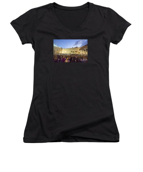 Jewish Sunrise Prayers At The Western Wall, Israel 8 Women's V-Neck T-Shirt