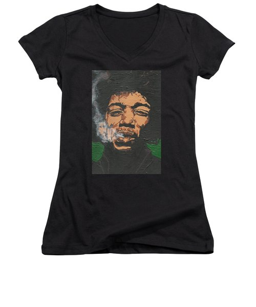 Jimi Hendrix Women's V-Neck (Athletic Fit)