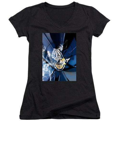 Joe Bonamassa Blues Guitarist Women's V-Neck T-Shirt (Junior Cut) by Marvin Blaine