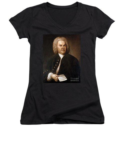 Johann Sebastian Bach, German Baroque Women's V-Neck