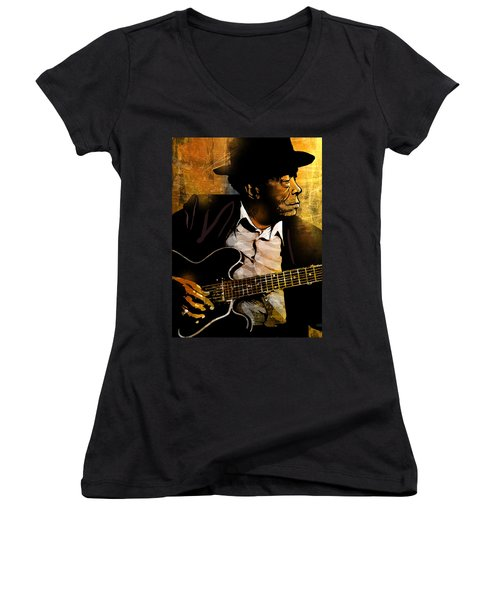 John Lee Hooker Women's V-Neck T-Shirt