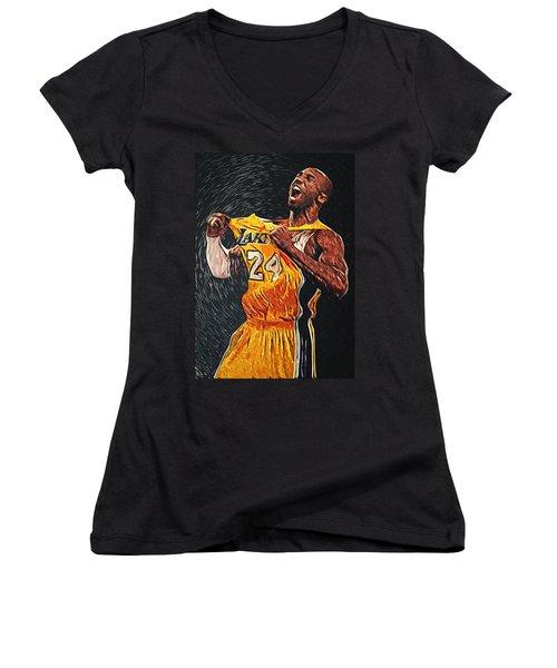 Kobe Bryant Women's V-Neck T-Shirt (Junior Cut) by Taylan Apukovska