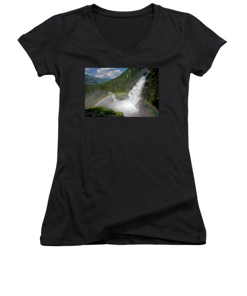 Krimml Waterfall And Rainbow Women's V-Neck (Athletic Fit)