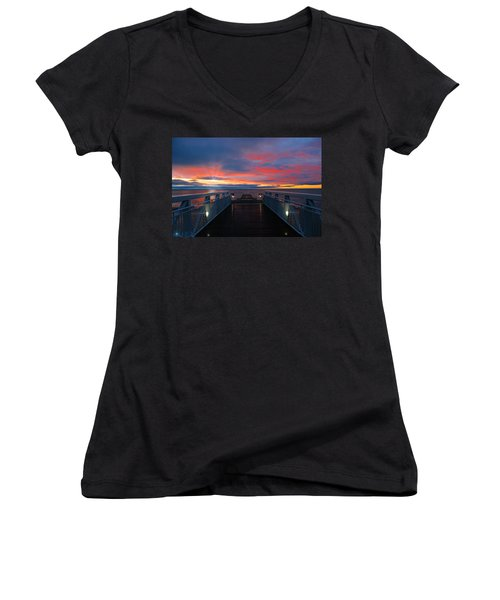 Lake Huron Sunrise Women's V-Neck (Athletic Fit)