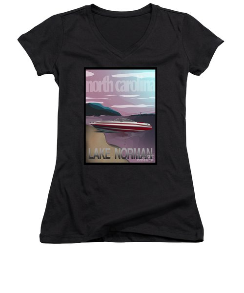 Lake Norman Poster  Women's V-Neck T-Shirt
