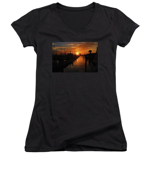 Women's V-Neck T-Shirt (Junior Cut) featuring the photograph 1- Lake Park Marina by Joseph Keane