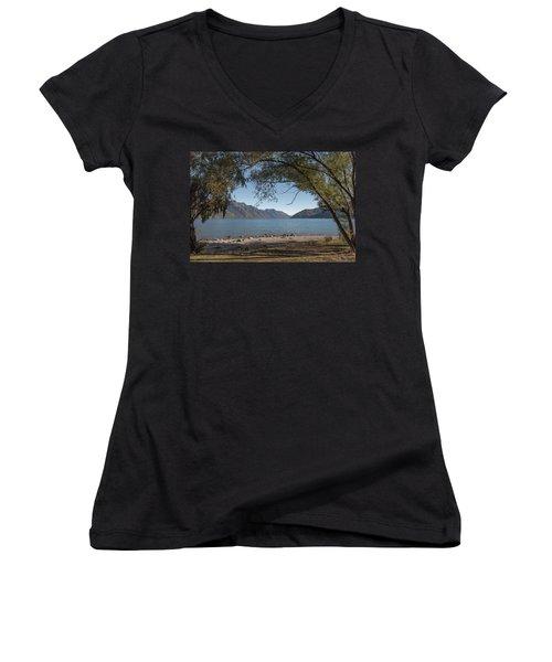 Women's V-Neck T-Shirt featuring the photograph Lake Wakatipu Shore Early Morning by Gary Eason