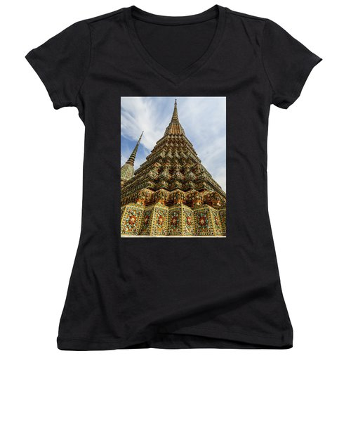Large Colorful Stupa At Wat Pho Temple Women's V-Neck (Athletic Fit)