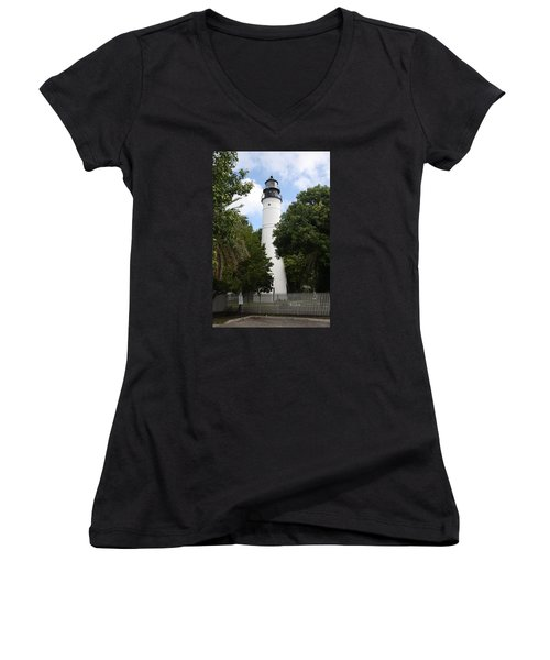 Women's V-Neck T-Shirt (Junior Cut) featuring the photograph Lighthouse - Key West by Christiane Schulze Art And Photography