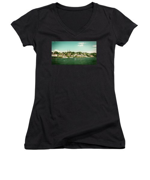 Women's V-Neck T-Shirt (Junior Cut) featuring the photograph Lucerne Panorama by Wolfgang Vogt