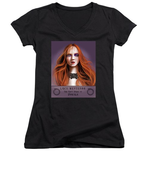 Lucy Westenra Women's V-Neck T-Shirt (Junior Cut) by James Christopher Hill