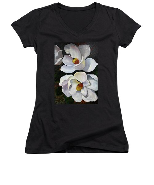 Magnolias Women's V-Neck T-Shirt (Junior Cut)