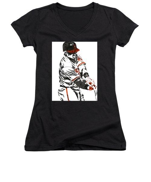 Manny Machado Baltimore Orioles Pixel Art Women's V-Neck (Athletic Fit)