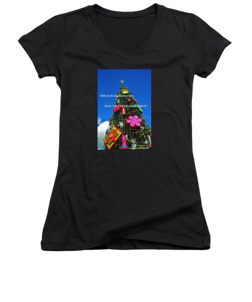 Women's V-Neck T-Shirt (Junior Cut) featuring the photograph Merry Christmas  Happy New Year  Hawaiian by Craig Wood
