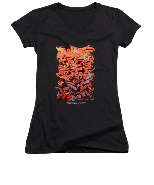 Metallic Fire Transparency Women's V-Neck (Athletic Fit)