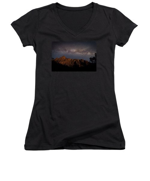 Milky Way Galaxy Over Zion Canyon Women's V-Neck