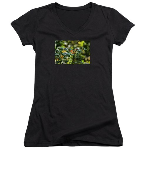 Women's V-Neck T-Shirt (Junior Cut) featuring the photograph Monarch by Rick Friedle