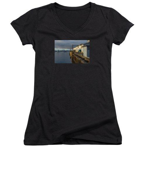 Monterey Commercial Wharf Women's V-Neck T-Shirt (Junior Cut) by Derek Dean