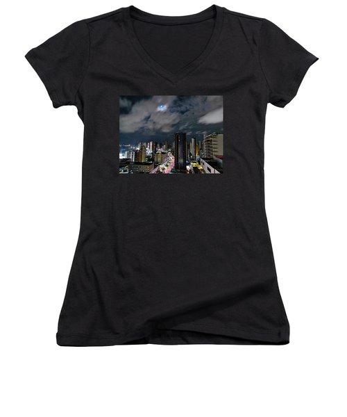 Moonlight Women's V-Neck T-Shirt (Junior Cut) by Cesar Vieira