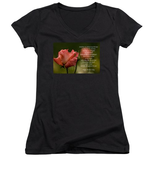 Women's V-Neck T-Shirt (Junior Cut) featuring the photograph Mother's Day Card 5 by Michael Cummings