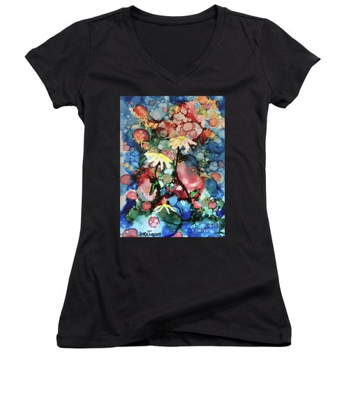 Women's V-Neck T-Shirt featuring the painting Mothers Day by Denise Tomasura