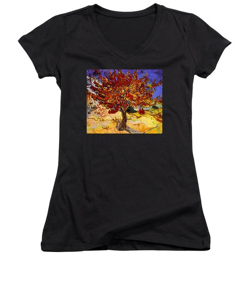Women's V-Neck featuring the painting Mulberry Tree by Van Gogh