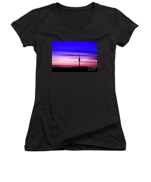 Women's V-Neck T-Shirt (Junior Cut) featuring the photograph Munich - Olympiaturm At Sunset by Hannes Cmarits