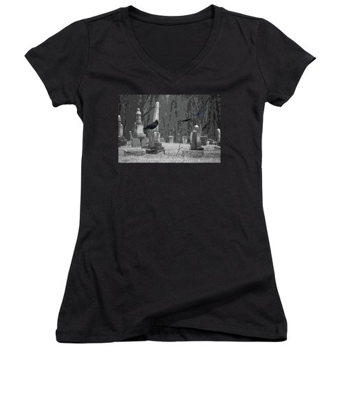 Murder Of Crows Women's V-Neck T-Shirt (Junior Cut) by Rowana Ray