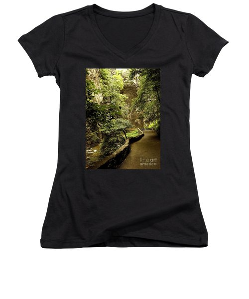 Women's V-Neck T-Shirt (Junior Cut) featuring the photograph Natural Bridge  by Raymond Earley