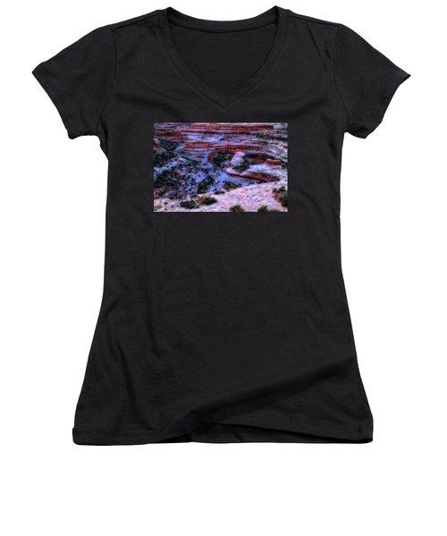 Natural Bridges National Monument Women's V-Neck T-Shirt (Junior Cut) by Utah Images