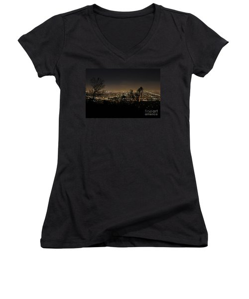 Night At Griffeth Observatory Women's V-Neck (Athletic Fit)
