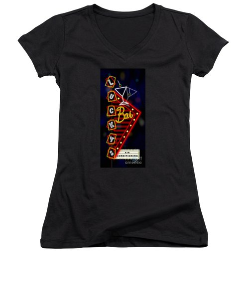 Nightclub Sign Luckys Bar Women's V-Neck (Athletic Fit)