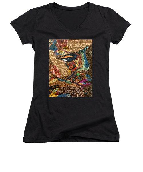 Women's V-Neck T-Shirt (Junior Cut) featuring the tapestry - textile Nina Simone Fragmented- Mississippi Goddamn by Apanaki Temitayo M