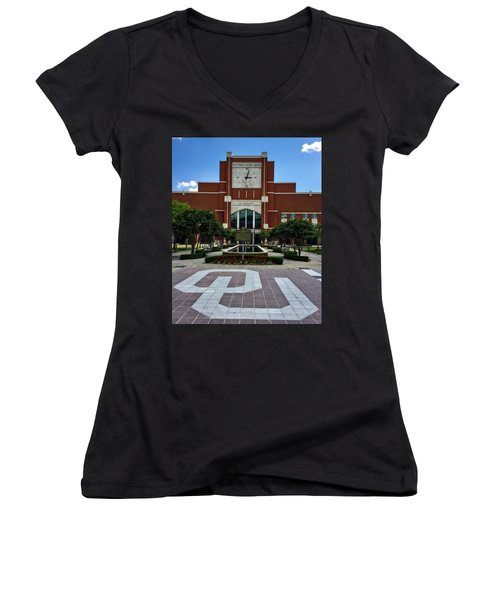 Oklahoma Memorial Stadium Women's V-Neck T-Shirt (Junior Cut) by Center For Teaching Excellence