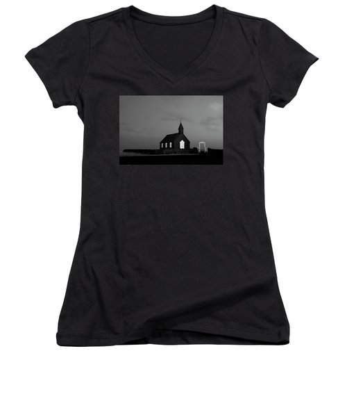 Old Countryside Church In Iceland Women's V-Neck T-Shirt (Junior Cut) by Joe Belanger
